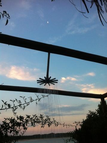 Evening outdoor shower