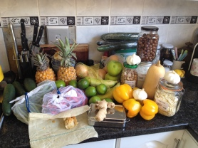My groceries from Food Lovers Market in Bruma, even package free chocolate treats.